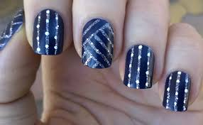 life world women dark blue u0026 silver glitter striped nail art