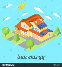 lowenergy house solar panels web design stock vector 431942545