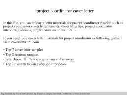 sample cover letter for project coordinator 7246