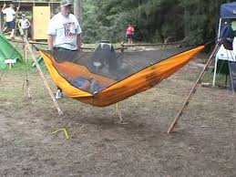 hennessy hammock set up on 2 sticks youtube