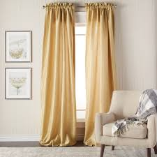 Yellow Faux Silk Curtains Heritage Landing 96 Inch Faux Silk Lined Curtain Pair Free