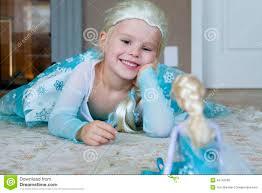 pretty dressed disney frozen princess elsa stock photo
