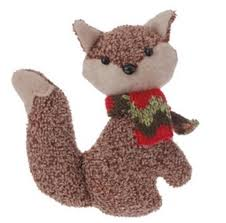 4 75 country cabin brown stuffed fox with and green scarf