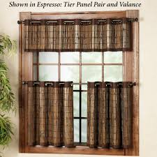 Kitchen Tier Curtains Bamboo Grommet Tier And Valance Window Treatment