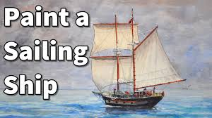 how to paint a sailboat in watercolor sailing ship time lapse