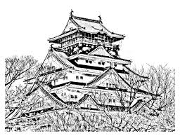 temple coloring page temple of the cherry blossom season japan japan coloring pages