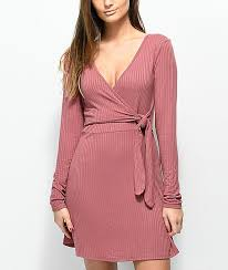 sleeve wrap dress lunachix mauve ribbed sleeve wrap dress zumiez