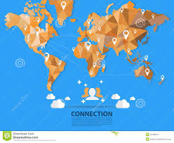 Vector World Map Vector World Map Connection Origami Stock Vector Image 42496511
