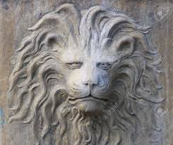 Face Planter Stone Lion Face Of Planter On Street In Savannah Ga Stock Photo