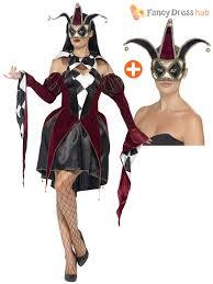 mens ladies harlequin jester cotume gothic circus halloween