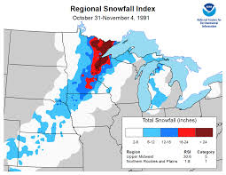Snowfall Totals Map On This Day The Halloween Blizzard Of 1991 National Centers For