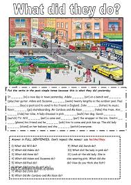 the past simple tense with a picture ela grammar pinterest