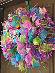 how to make easter wreaths blue deco mesh easter wreath with glittery eggs wreaths