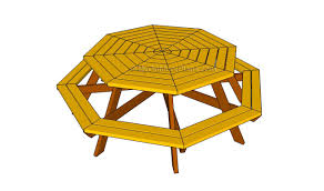 free octagon picnic table plans quick woodworking ideas