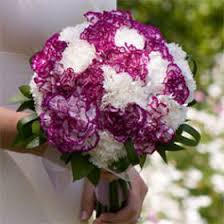carnation bouquet premium purple and white carnation bridal bouquet global
