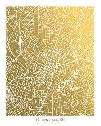 Greenville Sc Zip Code Map Greenville Sc Gold Foil Map Print Greenville South Carolina