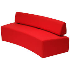 Red Tufted Bench Modular Upholstered Bench Contemporary Fabric Commercial