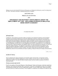 Notice On Termination Of Employment by Pregnancy And Maternity Entitlements Under The Employment Act 1955