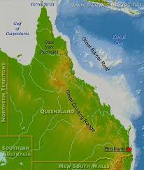 map of queensland physical map of queensland australia