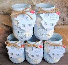 Nautical Baby Shower Centerpieces by Painted Mason Jars With Personalized Whale Tag Ahoy It U0027s A Boy