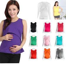nursing shirts hot summer women cotton solid vest shirts maternity