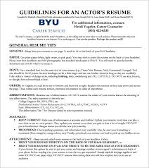 Resume Section Headings Sample Acting Cv Template 7 Download Documents In Pdf