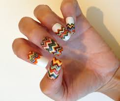 manicure monday fall inspired chevron nails salon fanatic