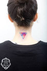 small size triangle tattoo on back neck in 2017 real photo