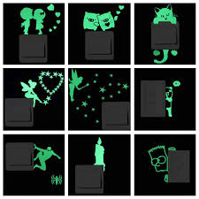 luminous cartoon switch sticker glow in the dark cat sticker