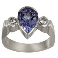 tanzanite engagement ring dacarli tanzanite pear shaped engagement ring with bezel
