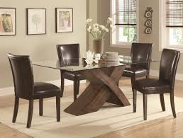 nessa deep brown wood and glass dining table set steal a sofa nessa deep brown wood and glass dining table set