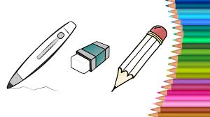 how to draw stationery pen pencil colouring book for kids