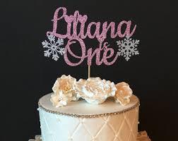 one winter wonderland glitter birthday cake topper winter