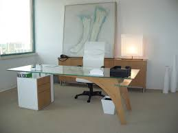 Modern Wood Office Desk Office Modern Wood And Black Glass Ofiice Desk With 2 Drawers