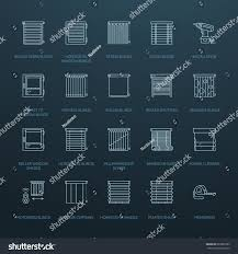 window blinds shades line icons various stock vector 622985285