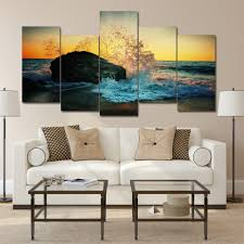 popular surf beach art buy cheap surf beach art lots from china canvas printed modern painting wall art poster 5 panel seascape surf sand beach frame pictures home