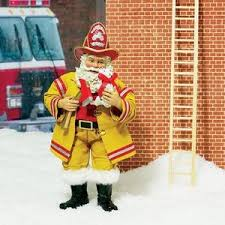firefighter figurines fireman santa figurine fireman santa claus collectible