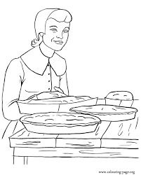 Thanksgiving Woman Baking Pumpkin Pies And Corn Bread Coloring Page Coloring Pages Bread