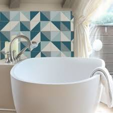 White And Blue Tiles In Bathroom Tile Stickers Size U2013 200x200mm 8x8 In