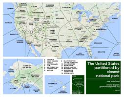 United States Map Mountains by Voronoi Map Of National Parks The Usa Divided Into Regions Based