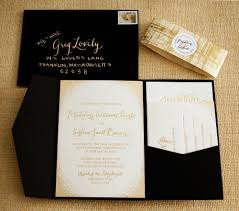 Black And White Wedding Invitations Gold Foil Shimmery Subtle Glitter Wedding Invitation Suite With