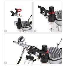 kkmoon 3 airbrush u0026 compressor kit dual action air brush set hobby