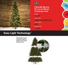 shop ge 7 5 ft pre lit colorado spruce artificial christmas tree