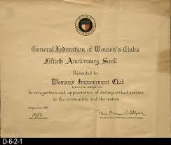 fiftieth anniversary certificate 1952 woman s improvement clubs fiftieth