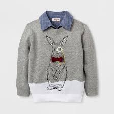 toddler boys rabbit print pullover sweater cat gray