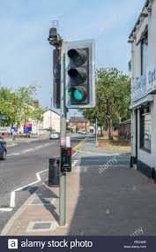 do traffic lights have sensors pedestrian puffin crossing with traffic light on green with stock