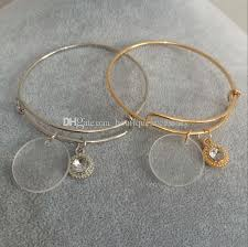 adjustable bangle bracelet images Bulk wholesale 25mm clear acrylic disc 8mm pearl charm bracelet jpg