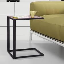 Bed Side Desk Homcom Sofa Snack Table Laptop Holder Bed Side Desk Metal Base