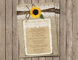 burlap and lace wedding invitations burlap and lace wedding invitation sunflower digital file