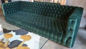 Green Velvet Tufted Sofa by Custom Capitone Carmen Tufted Green Velvet Sofa Mid Century
